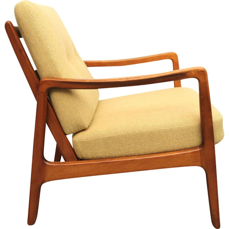 Vintage yellow armchair by Ole Wanscher for France & Daverkosen,1950
