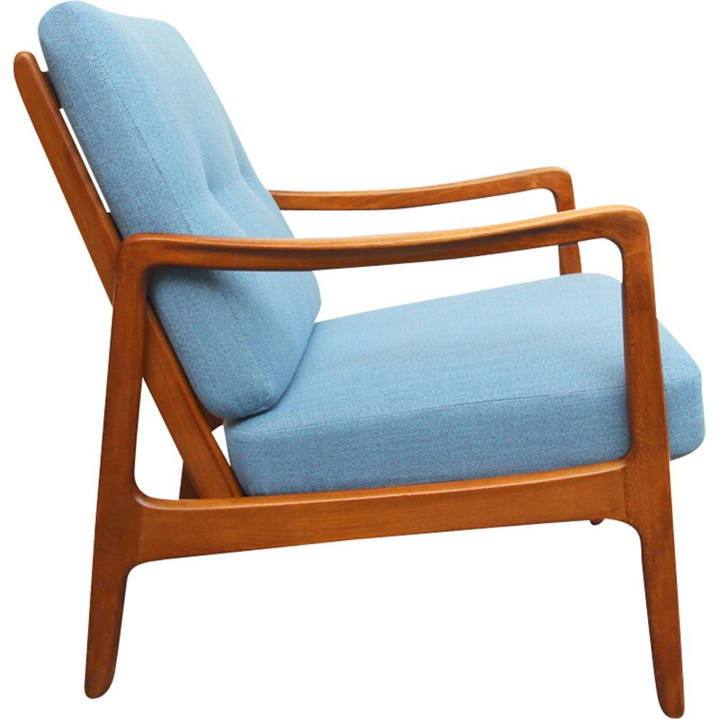 Vintage blue armchair by Ole Wanscher for France & Daverkosen,1950