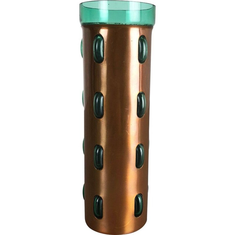Cylindrical vintage vase in green glass and copper by Nanny Still for Raak,1970