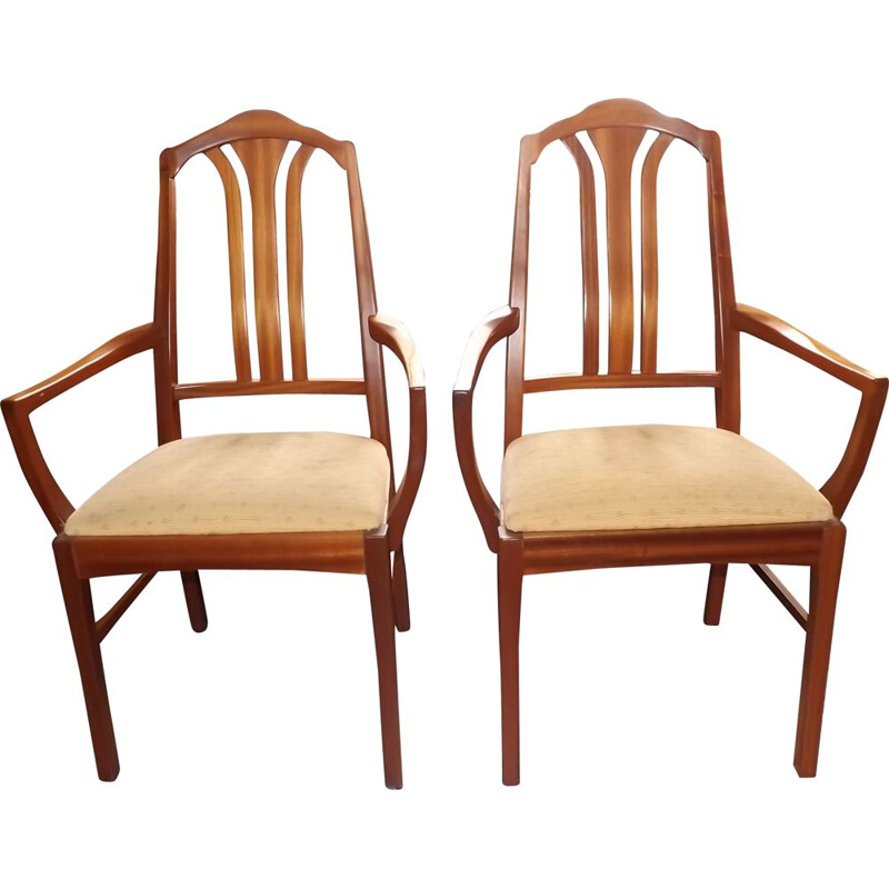 Pair of vintage chairs for Nathan in teak and beige fabric 1960