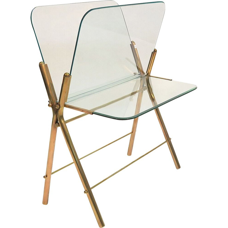 Vintage italian magazine rack in glass and brass 1950