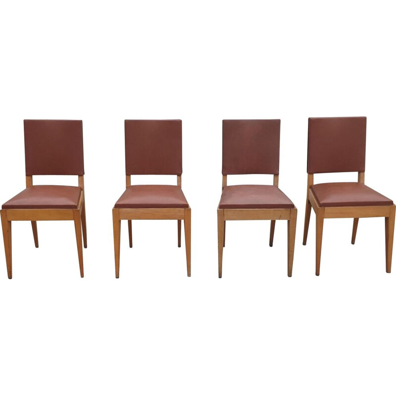 Set of 4 vintage french chairs in brown leatherette and beech 1940