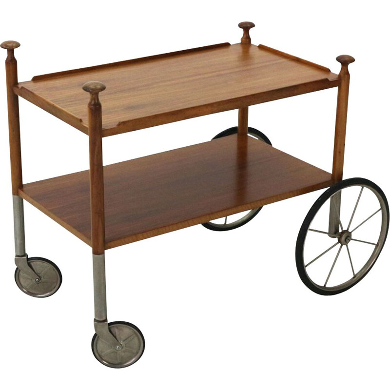 Vintage serving cart in walnut by Wilhelm Renz Germany 1960s