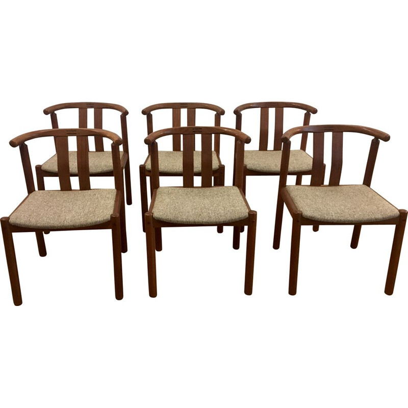 Set of 6 dining chairs in teak and rosewood by Uldum Mobelfabrik, Denmark,1960