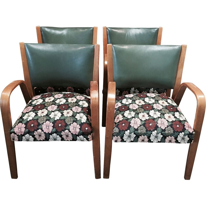 "Set of 4 vintage armchairs model ""Bow Wood"" by Hugues Steiner, 1950"
