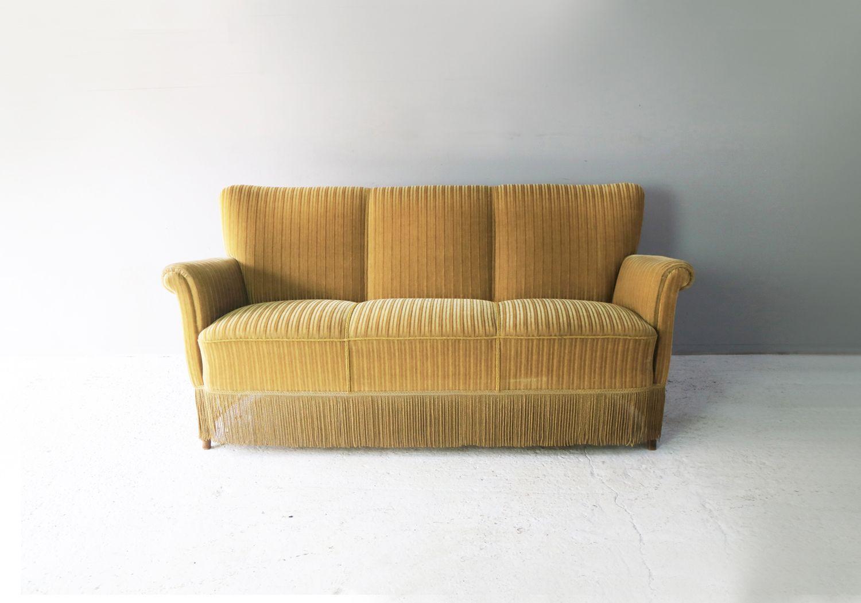 Danish 3-seater sofa in yellow velvet - Design Market