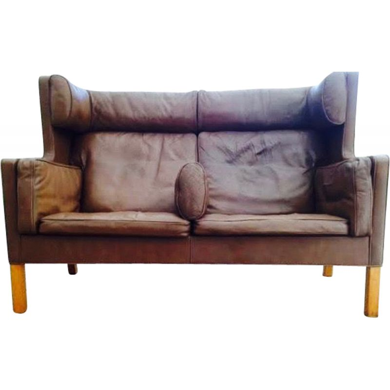 Vintage 2 seater sofa in leather by Borge Mogensen for Fredericia 1971