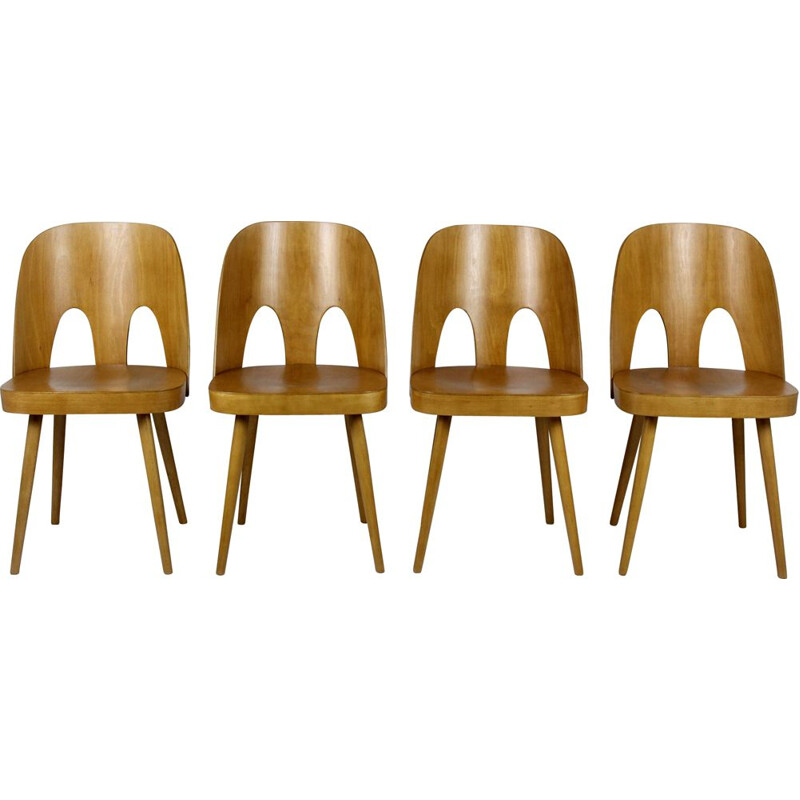 Set of 4 vintage wooden chairs by Oswald Haerdtl for Ton 1960s