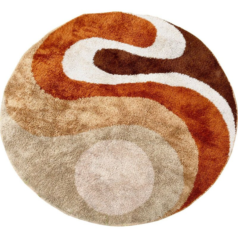 Vintage wool round rug for Desso 1970