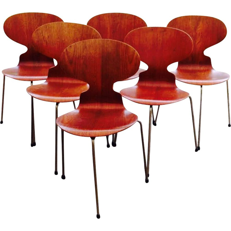 Set of 6 vintage teak chairs by Arne Jacobsen for Fritz Hansen 1950