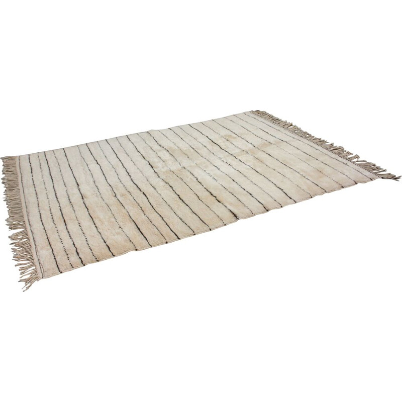Vintage Moroccan Beni Ourain woollen rug with stripes