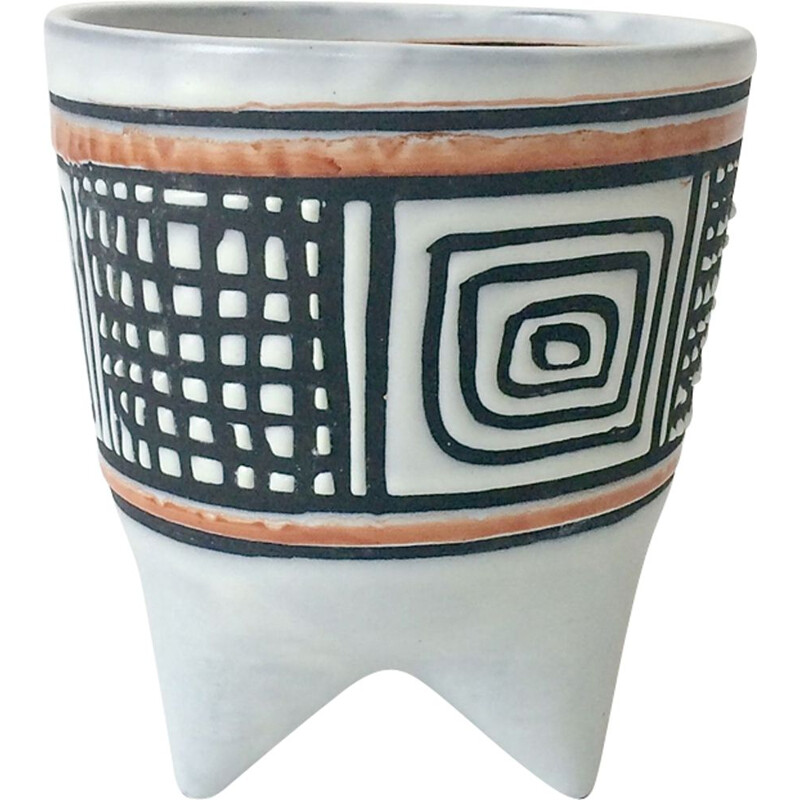 Vintage Molaire vase by Roger Capron in black earthenware and orange 1950