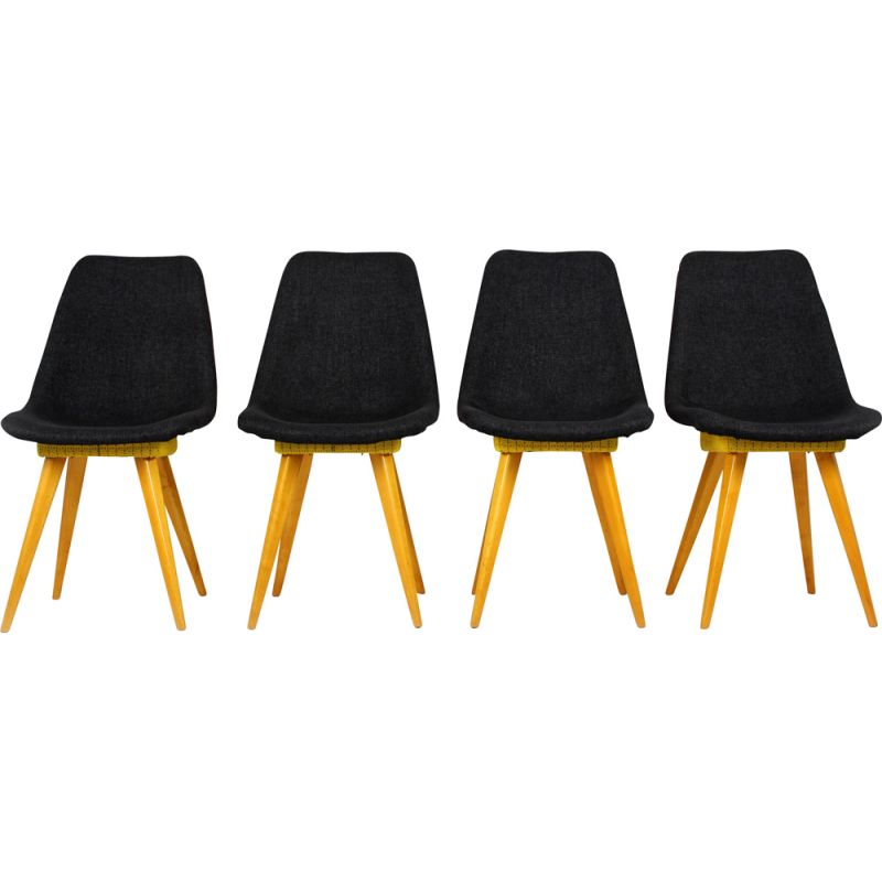 Set Of 4 Vintage Dining Chairs Grey Yellow From Drevovyroba Ostrava 1960s