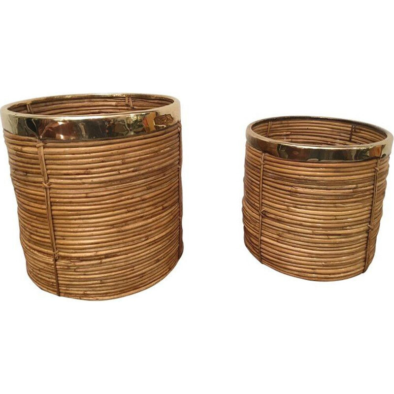 Set of 2 vintage plants holder in rattan and brass