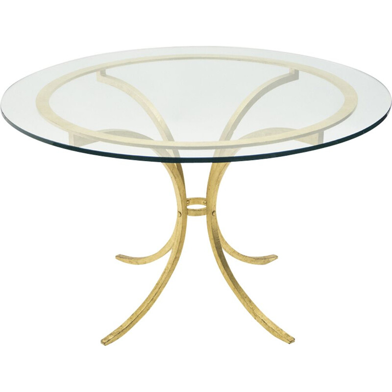 Vintage table by Thibier in gilded iron glass and cast steel 1960