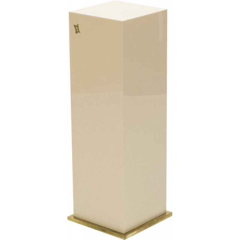 Vintage pedestal for Maison Romeo in brass and off-white lacquered 1970
