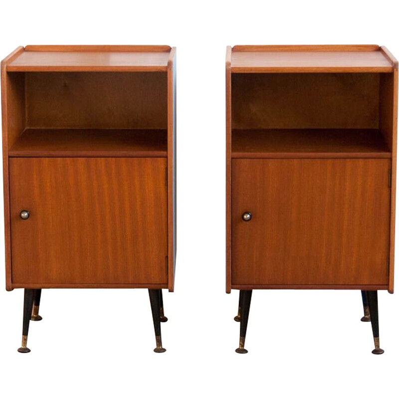 Pair of vintage scandinavian blue bedside tables in teak and brass