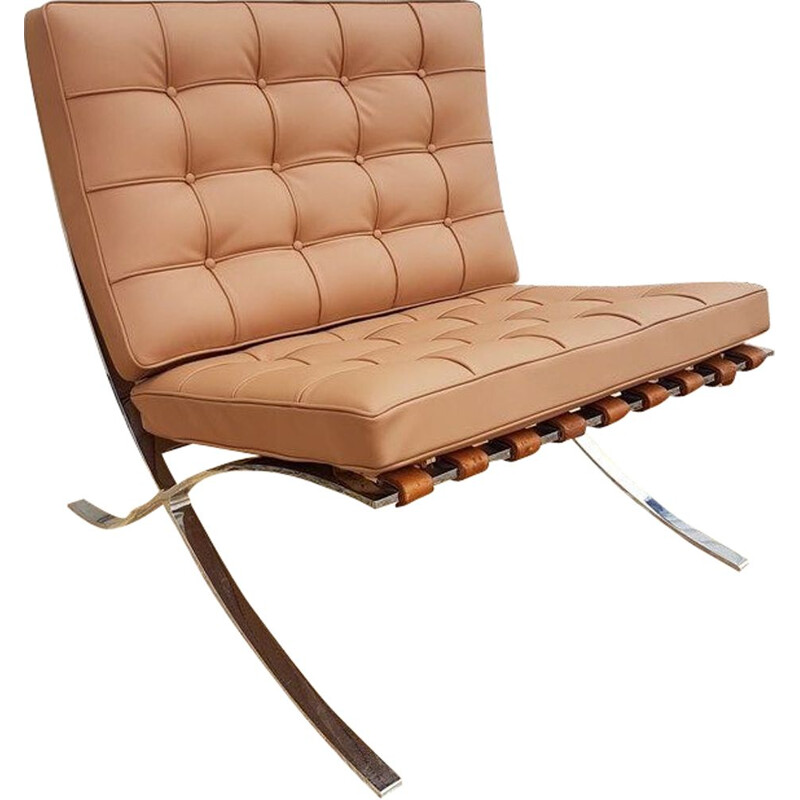 Vintage Barcelona armchair for Knoll in brown leather and steel 1980