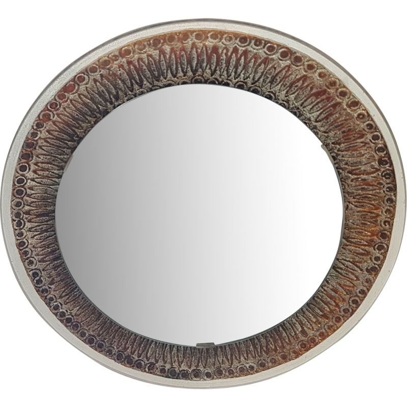 French vintage mirror in glass and ceramics 1960
