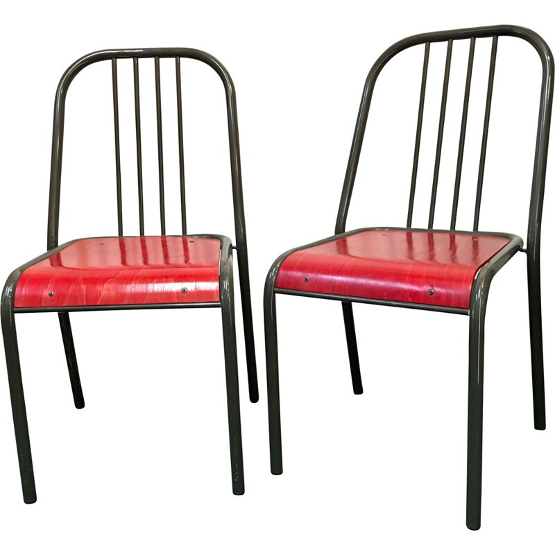 Pair of vintage red french chairs in grey steel 1980