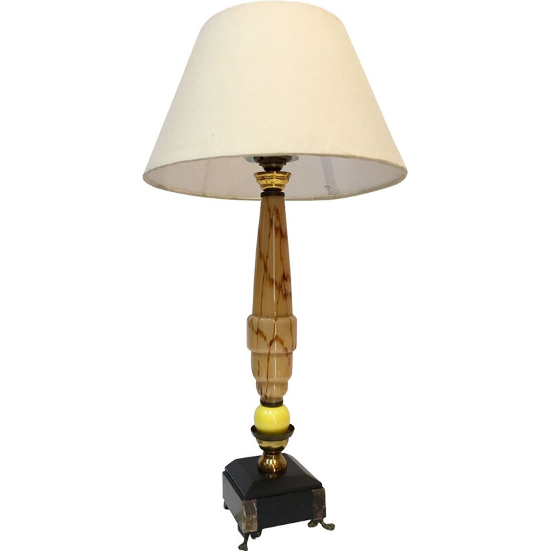 French vintage lamp in granite and marble 1930