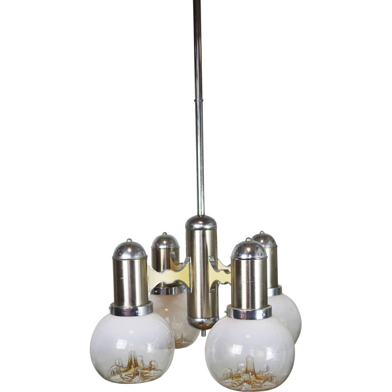 Vintage italian ceiling lamp in Murano glass 1970