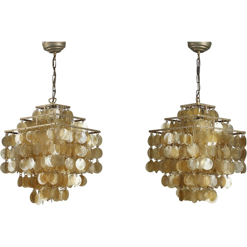 Pair of vintage Fun hanging lamps by Verner Panton in mother-of-pearl 1970
