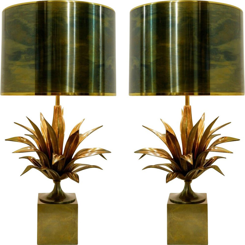 Pair of vintage lamps for Maison Charles in metal 1970