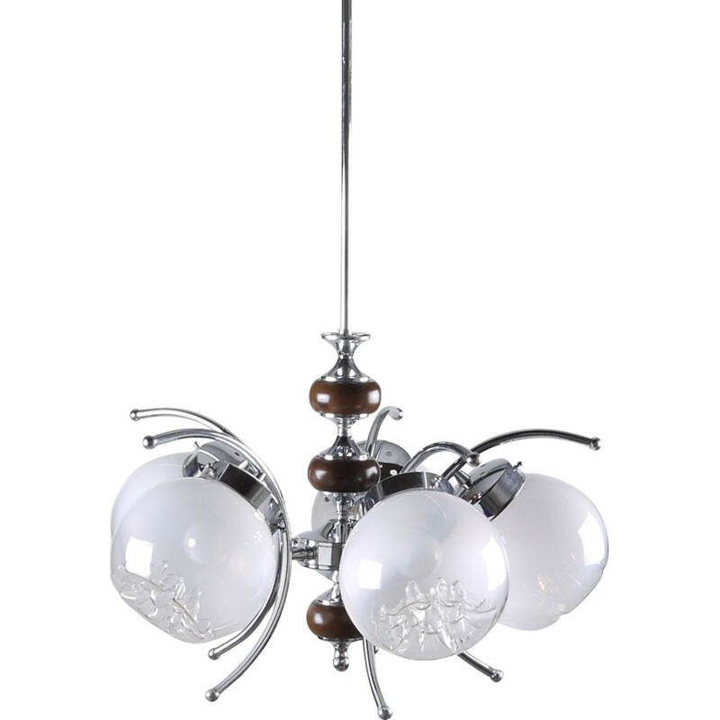 Vintage italian chandelier in Murano glass and metal 1960