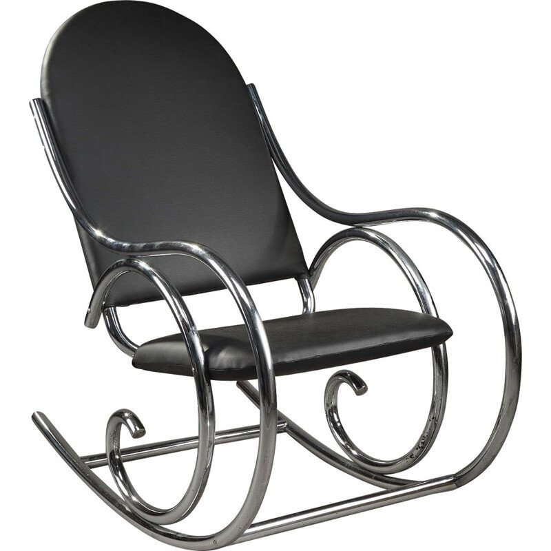 French vintage rocking chair in metal and black leatherette 1950
