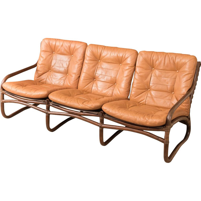Vintage sofa in brown leather and with a bamboo frame 1960