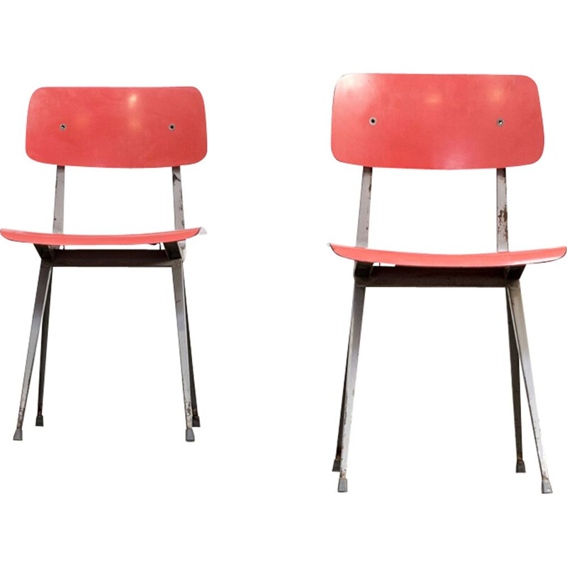 Set of 2 vintage Result chairs for Ahrend de Cirkel in wood and metal 1950