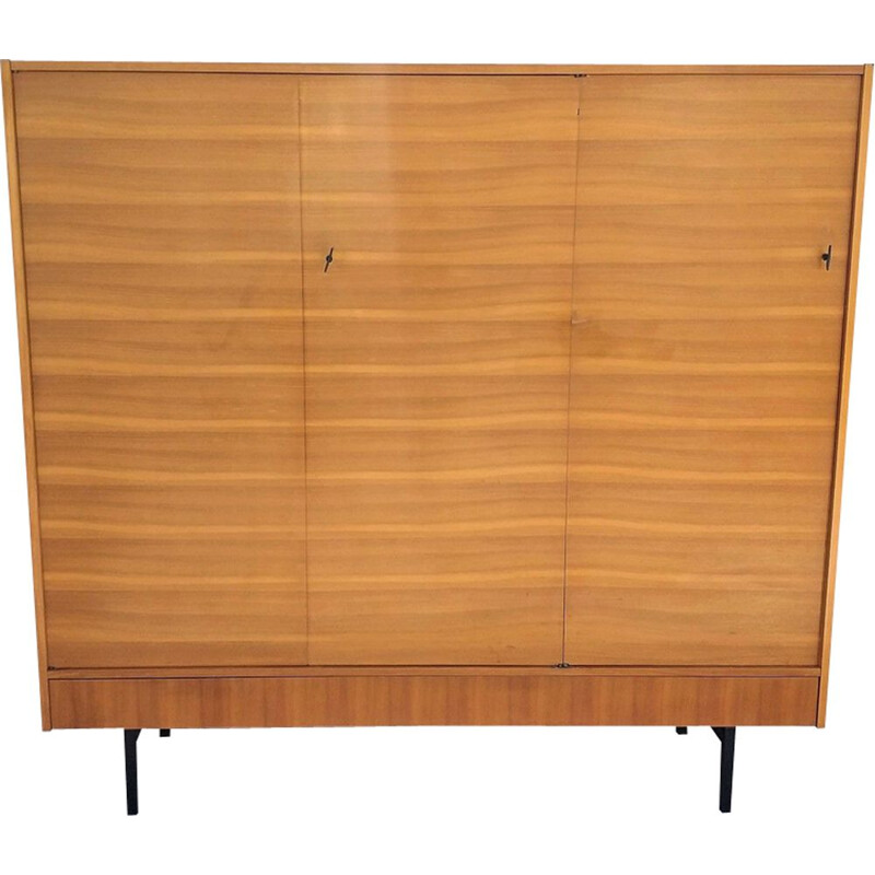 French vintage wardrobe for Magnani in ash and metal 1950