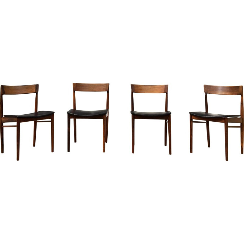 Set of 4 vintage chairs model N 39 rosewood by Henry Rosengren Hansen for Brande Møbelindustri
