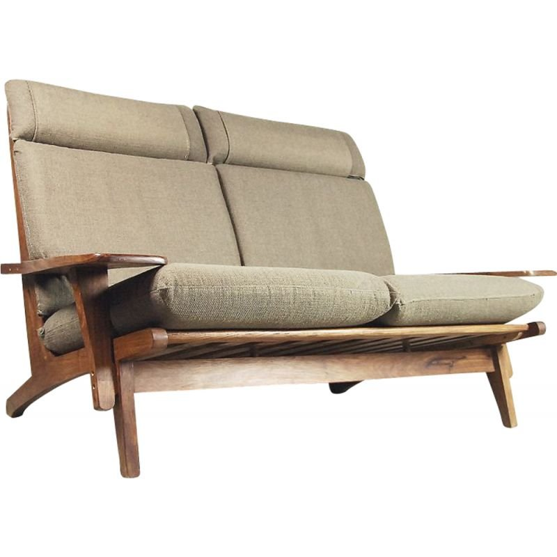 Vintage 2-seater sofa exotic wood with headrest Brazil 1960s