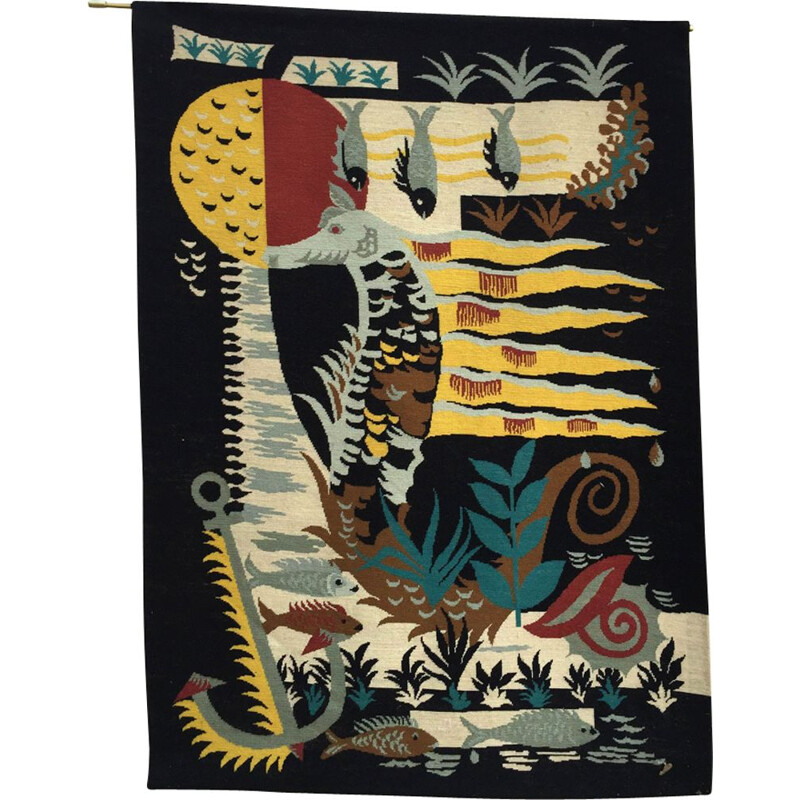 Vintage tapestry with marine pattern France 1980s