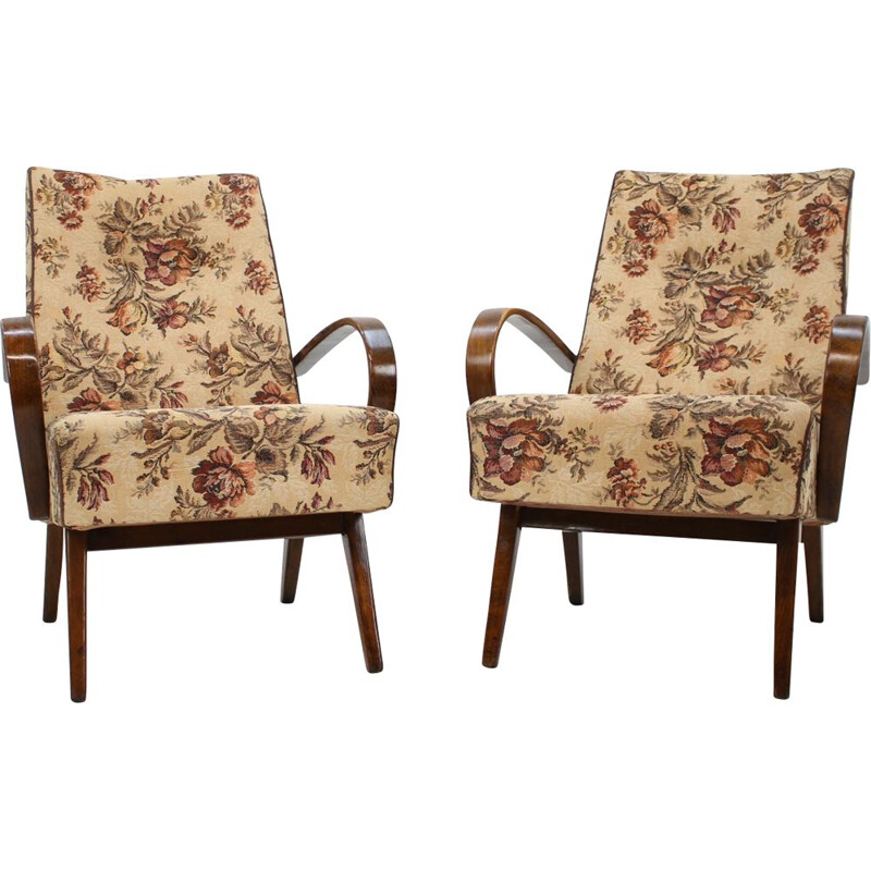 Pair of vintage armchairs by Jindřich Halabala 1960s