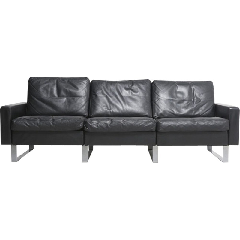 Conseta sofa in black leather by F.W. Möller