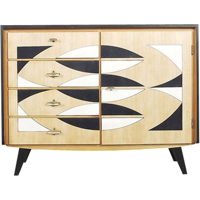 Vintage german chest of drawers by Musterring in oakwood with pattern 1960s