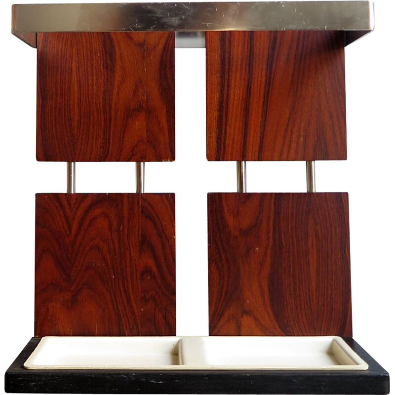 Vintage rosewood and chrome umbrella holder 1970