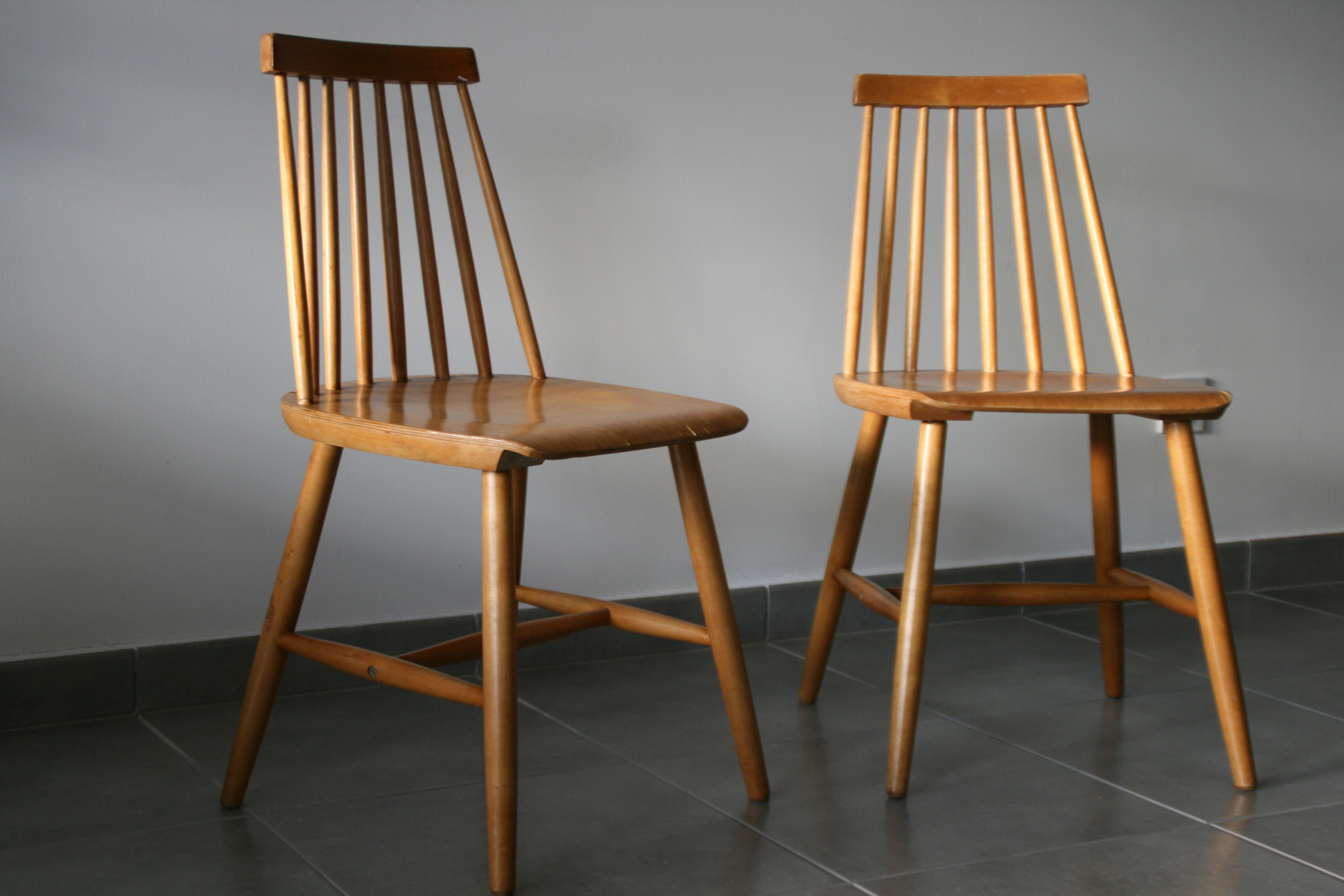 Pair Of Scandinavian Chairs In Varnished Wood 1970s Design Market