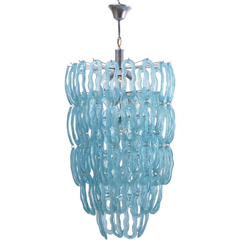 Vintage blue Italian chandelier in metal