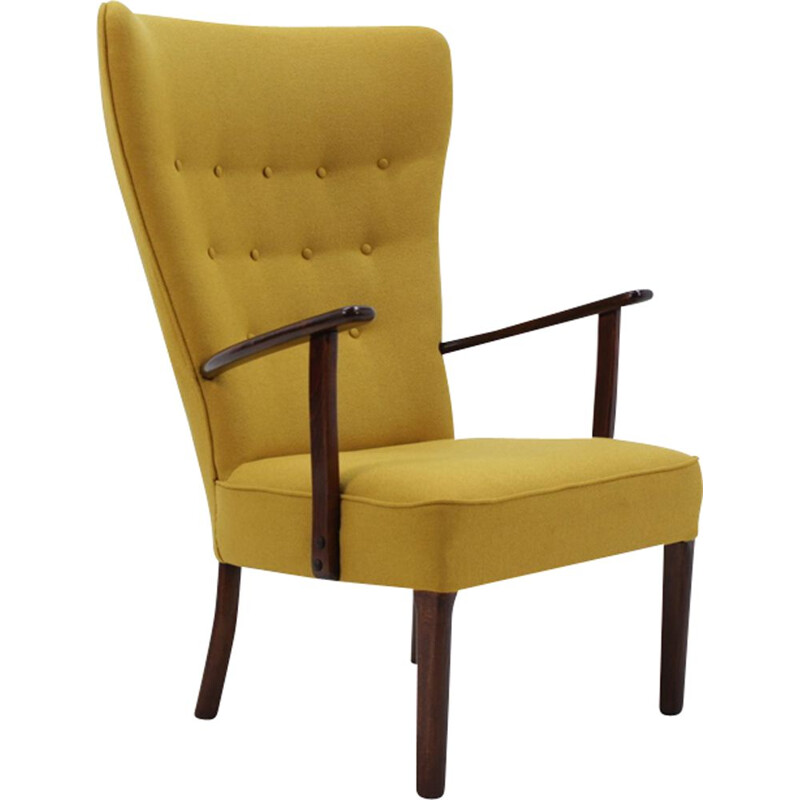 Vintage danish armchair by Fritz Hansen in yellow fabric 1960