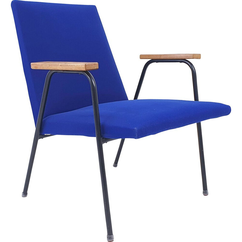 Vintage Robert armchair for Meurop in royal blue fabric and metal 1960
