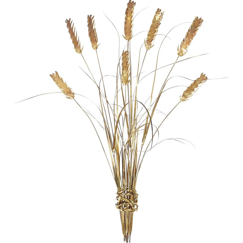 Vintage wheat sheaf sculpture by Daniel D'haeseleer in brass 1970