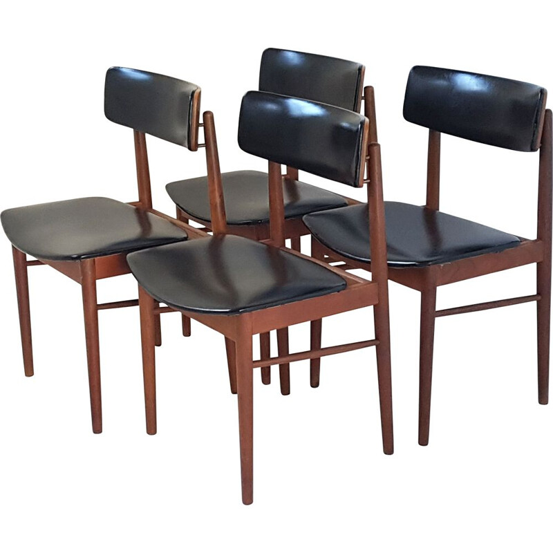 Set of 4 vintage scandinavian chairs for Sax in teak and black leatherette 1960