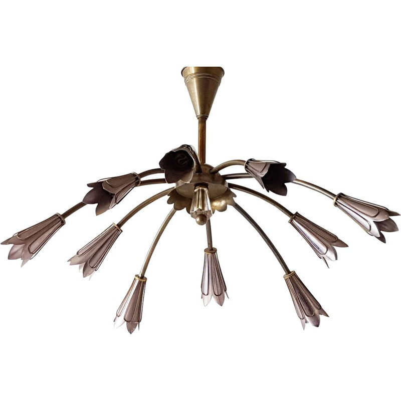 Vintage ceiling lamp for Maison Lunel in steel and brass 1950