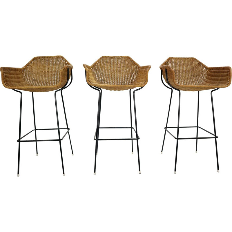 Set of 3 vintage bar stools in rattan by Dirk Van Sliedregt for Rohe Noordwolde 1960s