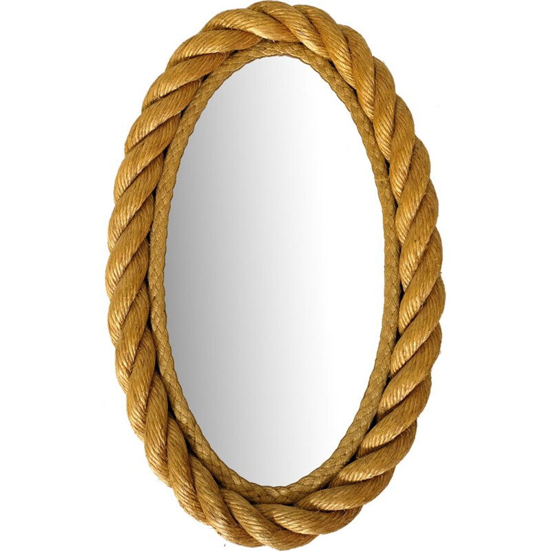 Vintage mirror oval braided cord France 1950s