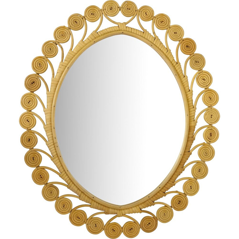 Vintage mirror in rattan France 1960s